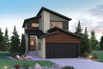 DG 10 B - The Preston Broadview Homes Winnipeg 2-storey home with warm vinyl siding and stucco details