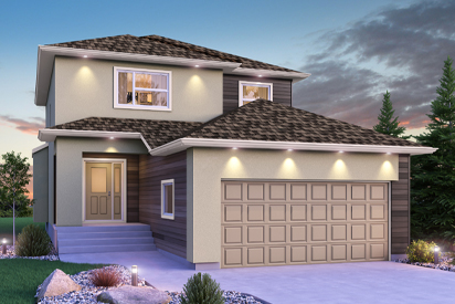 DG 15 A - The Avalon Broadview Homes Winnipeg 2-storey home with stucco and vinyl siding details