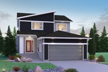 DG 15 B - The Avalon Broadview Homes Winnipeg 2-storey home with angled roof, black vinyl siding and stucco