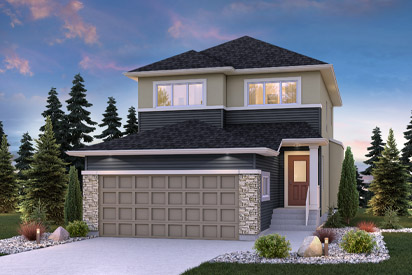 DG 17 A Front Exterior The Harlow Broadview Homes Winnipeg 2-storey home with vinyl siding, cultured stone and stucco