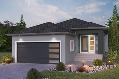 DG 23 B - The Grayson Broadview Homes Winnipeg bungalow with stucco exterior and covered front porch