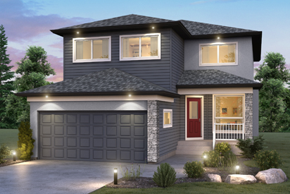 DG 27 C Opt Bonus Room - The Ellington Broadview Homes Winnipeg 2-storey home with vinyl siding, stucco, cultured stone details and covered front porch