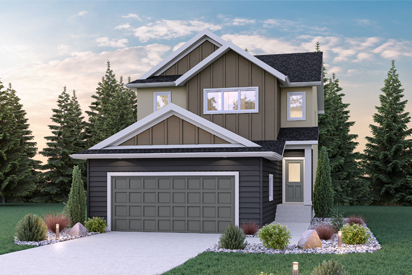 DG 45 A - The Atwood Broadview Homes Winnipeg 2-storey home with vinyl siding and board and batten style gable ends