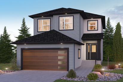 DG 47 A Opt 4 Bed - The Upton Broadview Homes Winnipeg 2-storey home with vinyl siding, stucco and covered front entrance