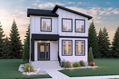 RG 106 D - The Torres Broadview Homes Winnipeg 2-storey home with white vinyl siding and covered front entrance