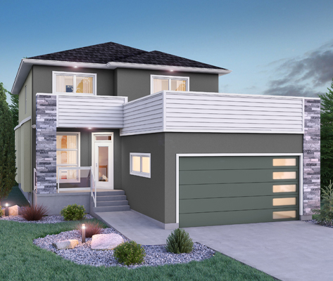 DG 16 H Monticello 2-storey home with stucco and vinyl parapet Broadview Homes Winnipeg