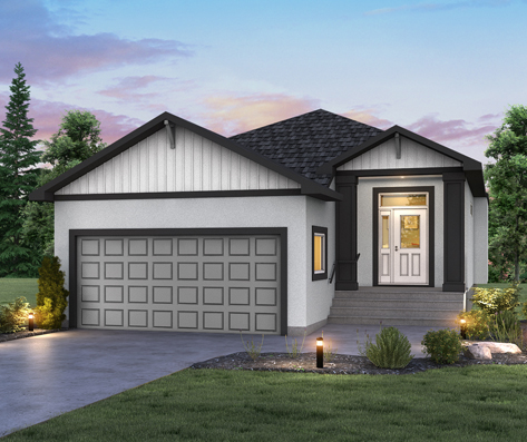 DG 23 A Grayson rendering bungalow style home with stucco and gable ends with siding broadview homes winnipeg