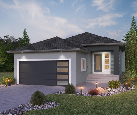 DG 23 B Grayson rendering bungalow style home with stucco broadview homes winnipeg
