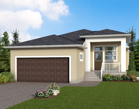 DG 33 A Heritage rendering bungalow style home with stucco and front porch broadview homes winnipeg