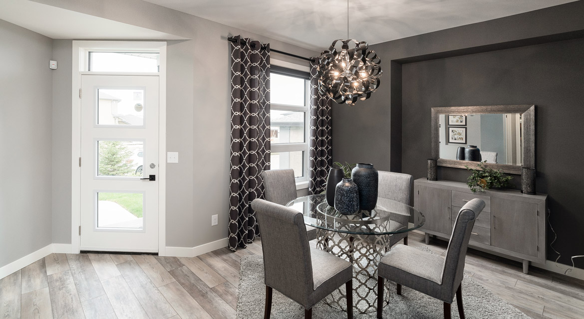 1. Front Foyer and Den-Dining Room - 88 Skyline Drive DG 16 G The Monticello Broadview Homes Winnipeg