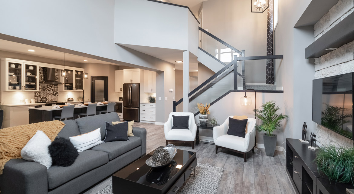 9. Great Room and Kitchen - 88 Skyline Drive DG 16 G The Monticello Broadview Homes Winnipeg