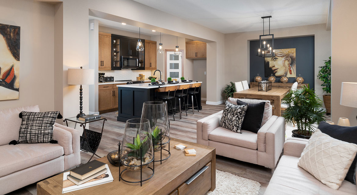 6. Great Room Kitchen and Eating - 314 Tanager Trail The Avalon DG 15 A Broadview Homes Winnipeg