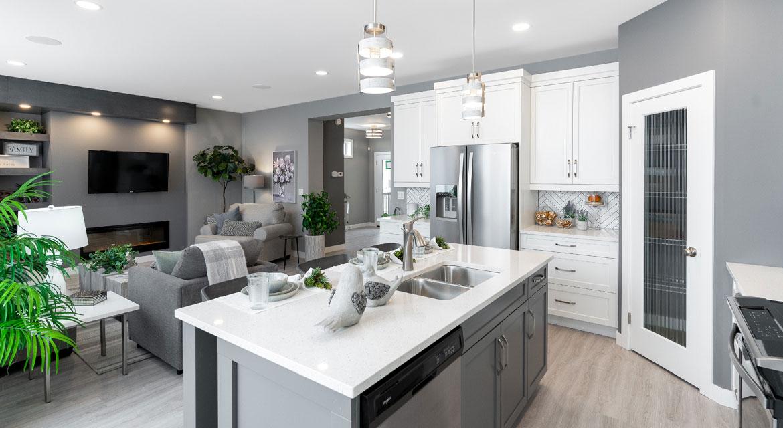 11. Kitchen and Great room - 4 Merkel Manza The Dawson DG 11 Broadview Homes Winnipeg
