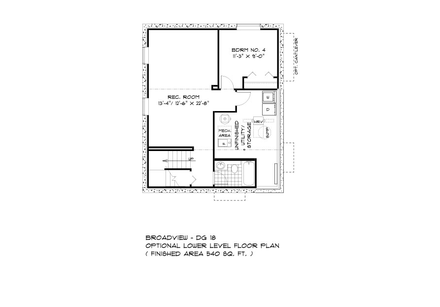 DG 18 The Cottonwood 2-storey home lower level plan with 4th bedroom, full bathroom, rec room and utility area broadview homes