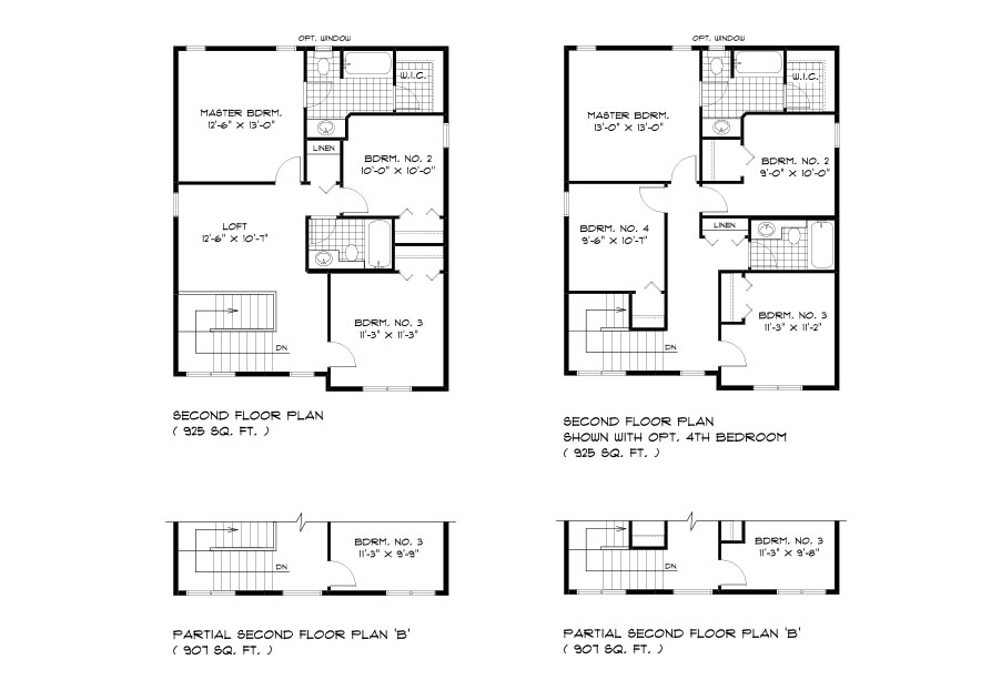 DG 18 The Cottonwood 2-storey home second floor plan with 3 bedrooms, 2 bathrooms and loft area or optional 4th bedroom