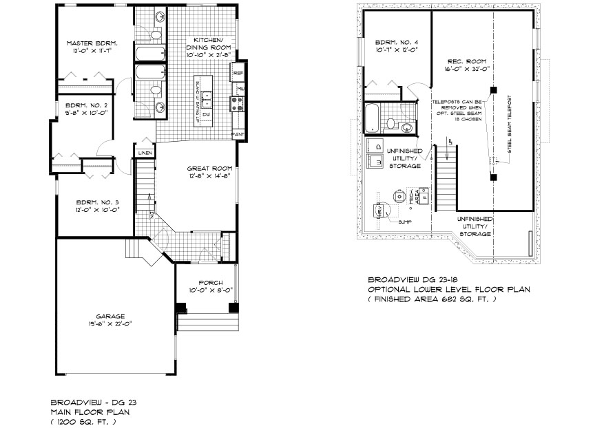 The Grayson DG 23 Bungalow Floor Plans