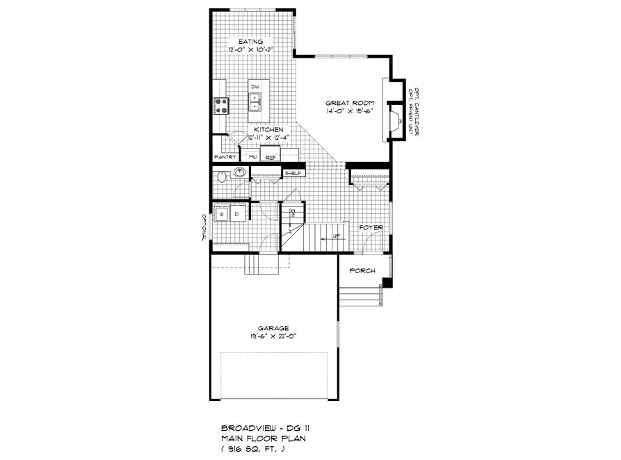 Main Floor Plan - DG 11 A The Dawson Broadview Homes Winnipeg