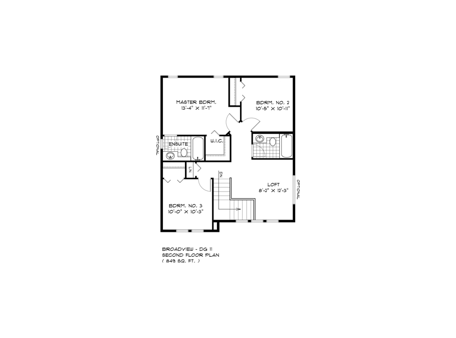 Second Floor Plan - DG 11 A The Dawson Broadview Homes Winnipeg