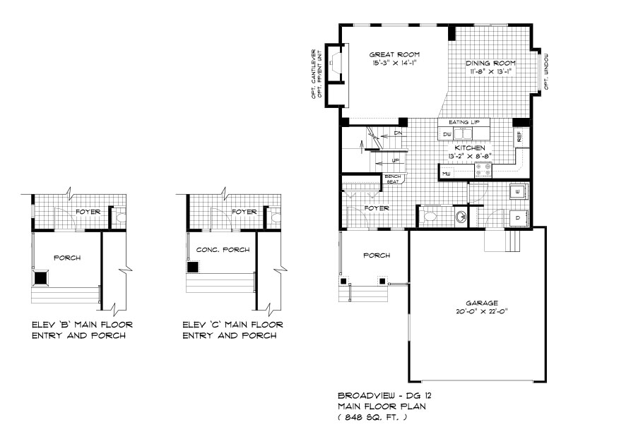 DG 12 The Daintree 2-storey home main floor plan with great room, dining room, kitchen, powder room, main floor laundry and front attached garage broadview homes