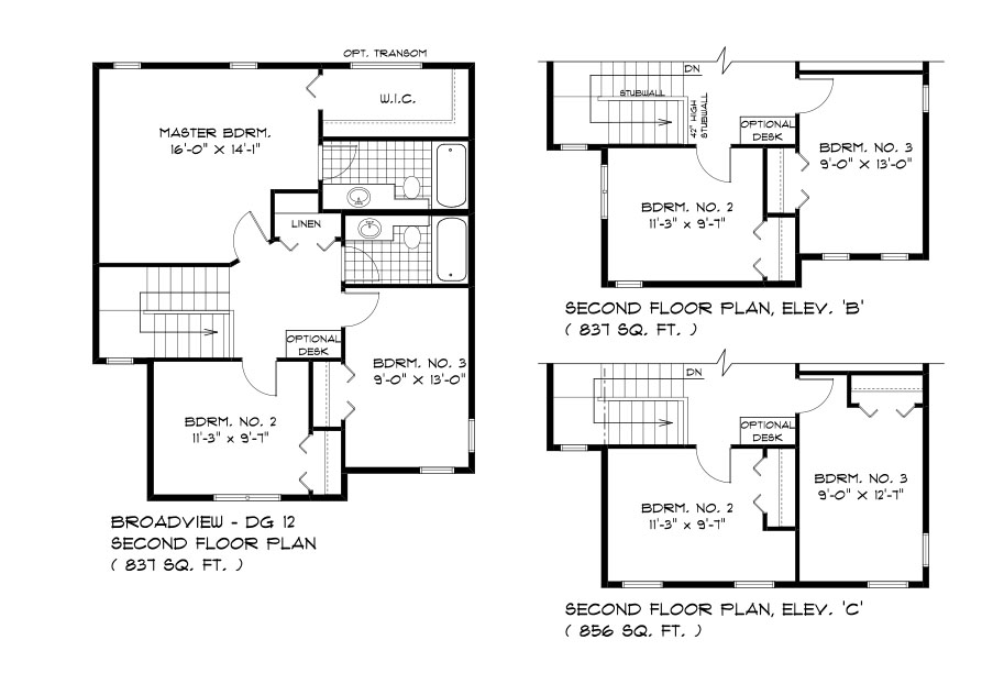 DG 12 The Daintree 2-story home second floor plan with 3 bedrooms and 2 bathrooms broadview homes
