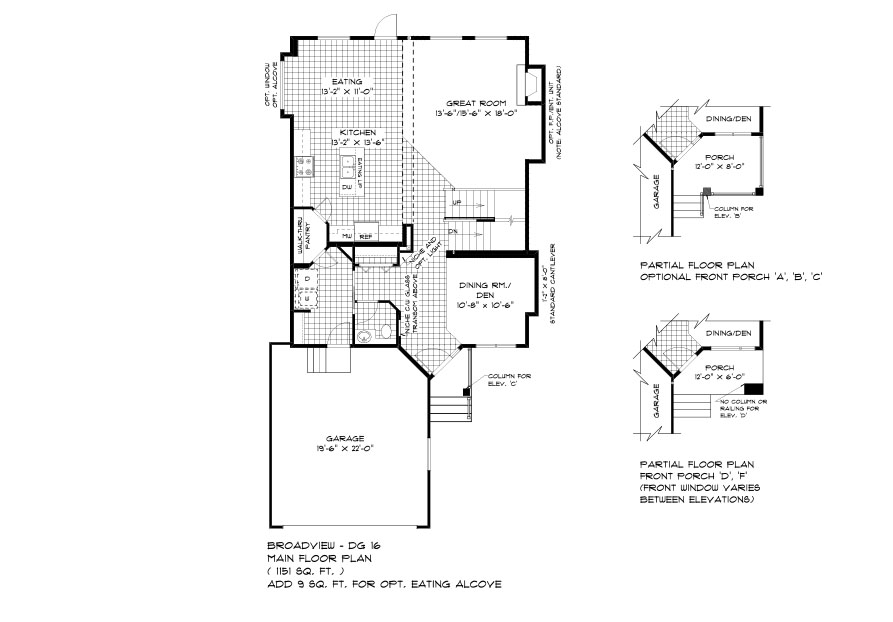 DG 16 The Monticello 2-storey home main floor plan with great room, dining room, kitchen, eating area, powder room, main floor laundry and front attached garage and optional front porch broadview homes