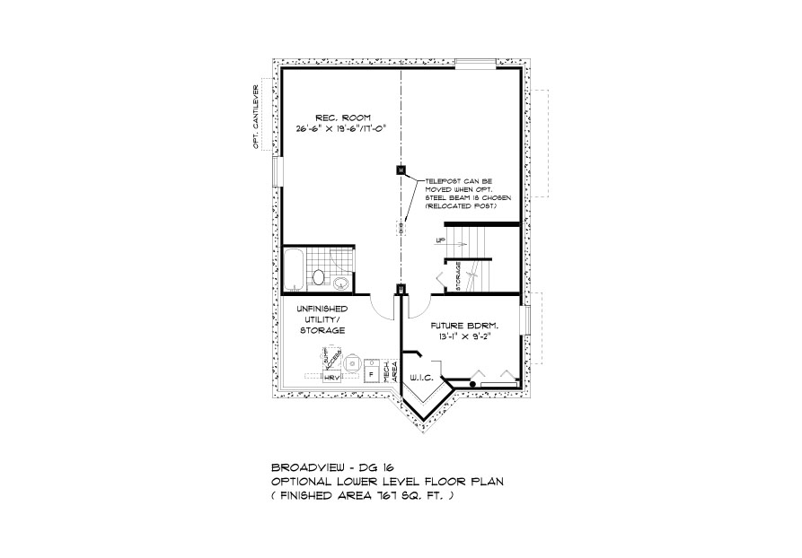 Dg 16 The Monticello 2-storey home lower level plan with 4th bedroom, full bathroom, rec room and utility area broadview homes
