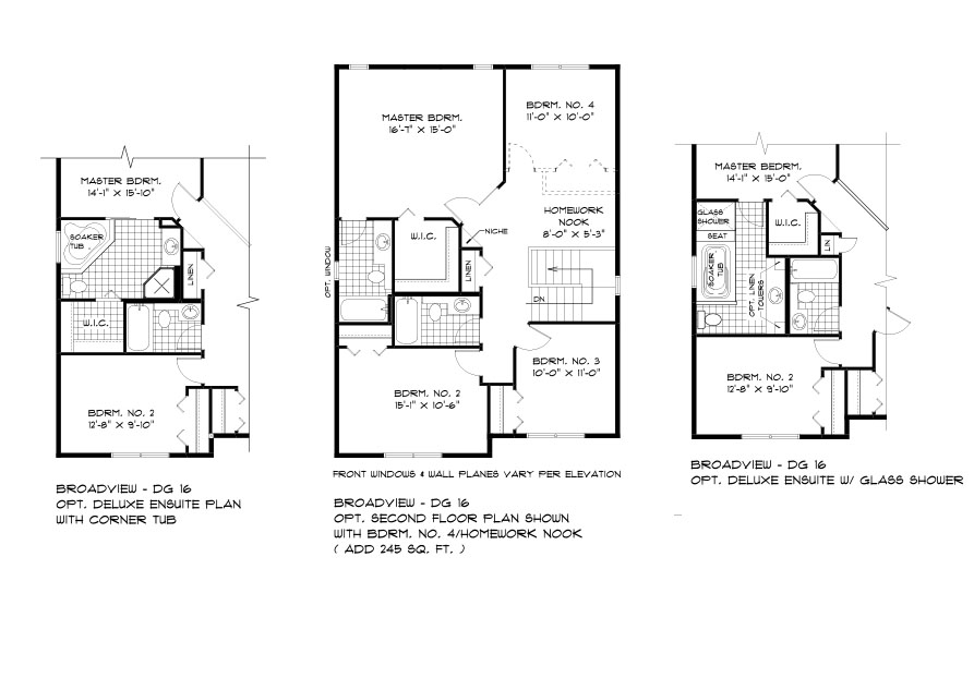 DG 16 The Monticello 2-storey home optional second floor bathroom with 4 bedrooms, 2 bathrooms and homework nook, optional deluxe ensuite with glass shower and optional deluxe ensuite with corner tub