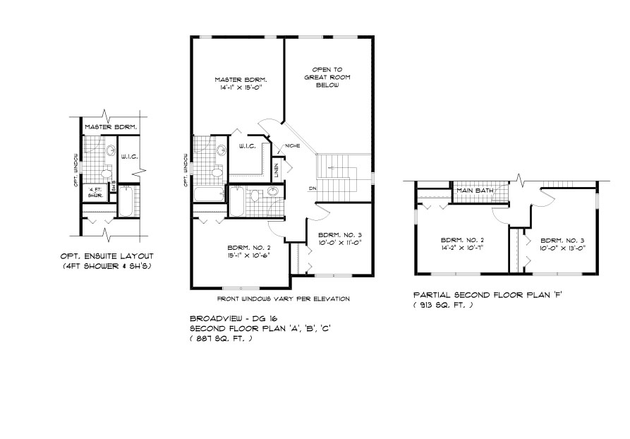 DG 16 The Monticello 2-storey home second floor plan with 3 bedrooms, 2 bathrooms and open to below with optional ensuite layout broadview homes