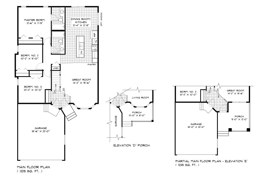DG 21 The Dalton Bungalow floor plan with 3 bedrooms, 2 bathrooms, kitchen, dining room, great room and front attached garage with elevation options broadview homes