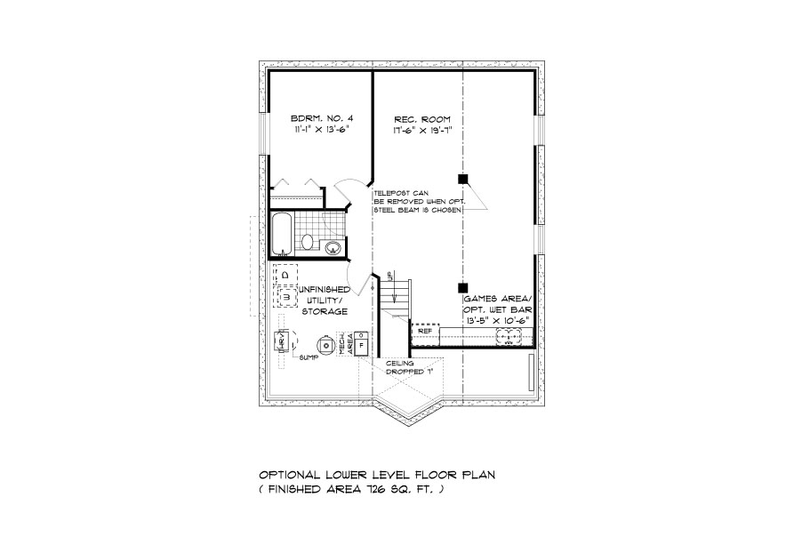 DG 21 The Dalton Bungalow lower level plan with 4th bedroom, full bathroom, rec room and utility area broadview homes