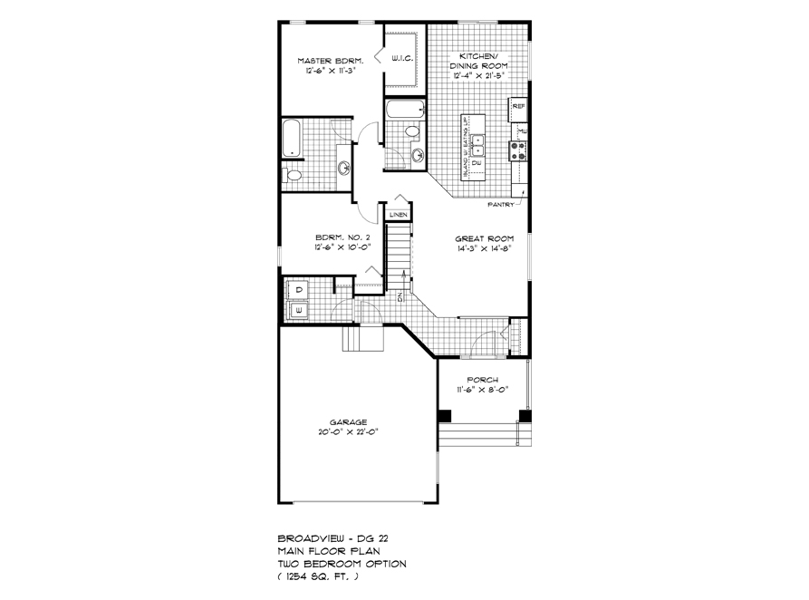 Main Floor 2 Bedroom Plan - DG 22 A The Weston Broadview Homes