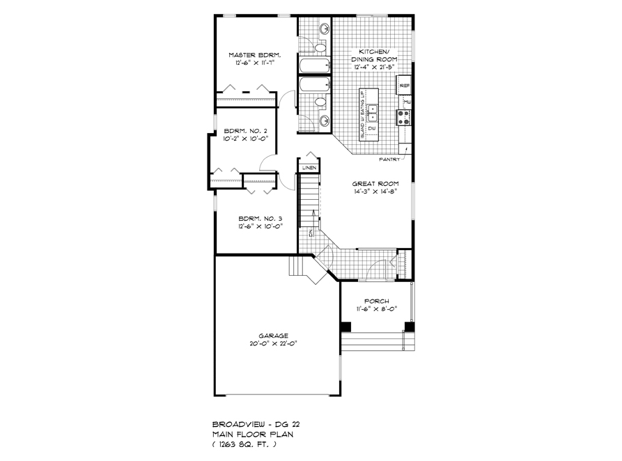 Main Floor Plan - DG 22 A The Weston Broadview Homes