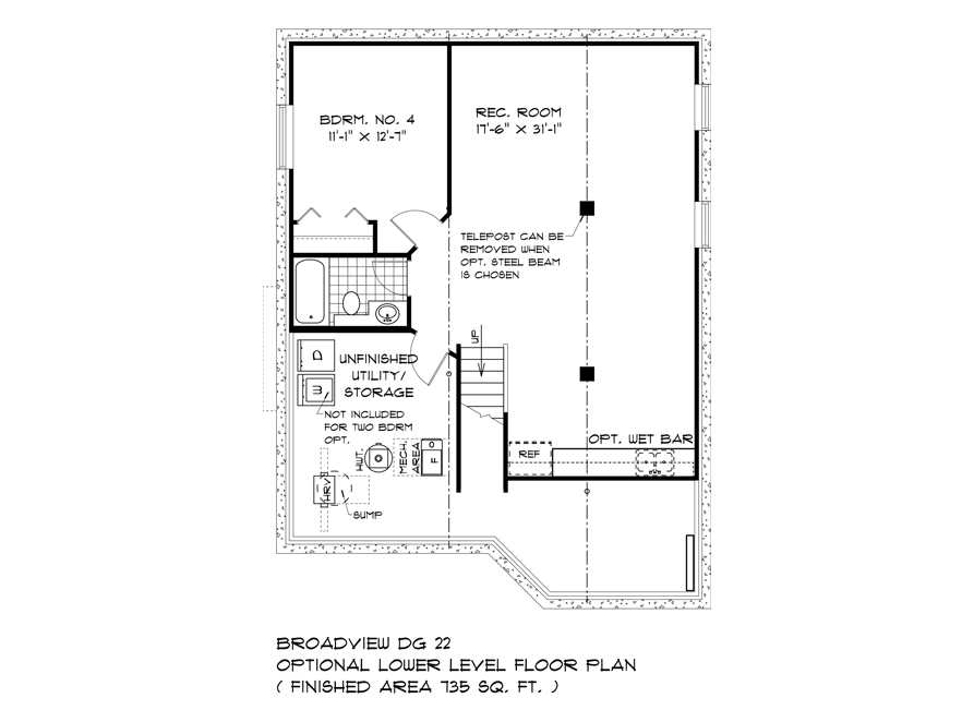Opt Lower Level Plan - DG 22 A The Weston Broadview Homes