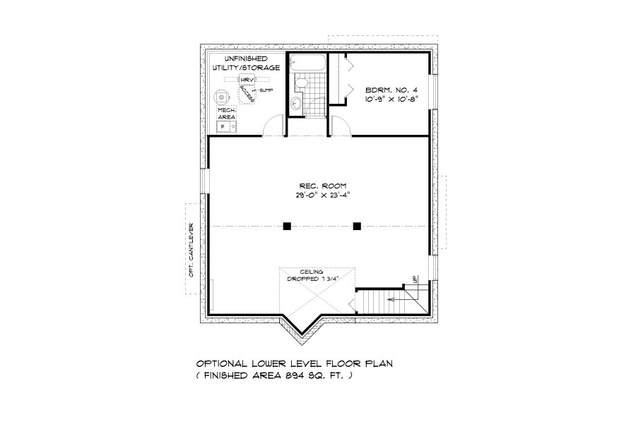 DG 24 The Seville Bunaglow style home lower level plan with 4th bedroom, full bathroom, rec room and utility area broadview homes