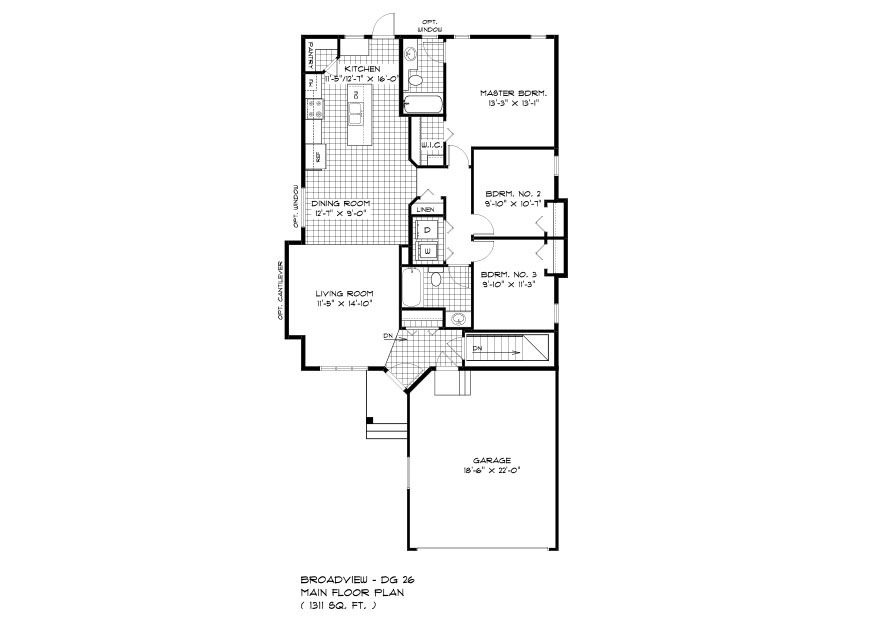DG 26 The Elwood bungalow style home main floor plan with 3 bedrooms, living room, dining room, kitchen, 2 bathrooms, main floor laundry and front attached garage broadview homes