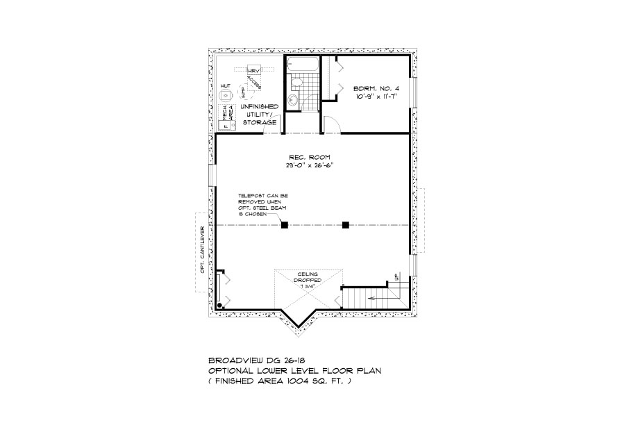 DG 26 The Elwood Bungalow style home lower level plan with 4th bedroom, full bathroom, rec room and utility area broadview homes