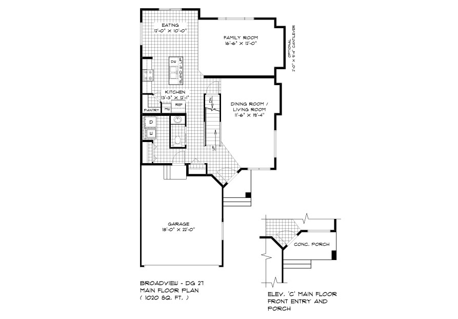 DG 27 The Ellington 2-Storey home main floor plan with Dining room, family room, kitchen, eating area, powder room and front attached garage