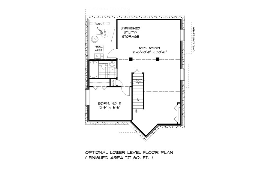 DG 27 The Ellington 2-Storey home lower level plan with 5th bedroom, rec room, full bathroom and utility area broadview homes