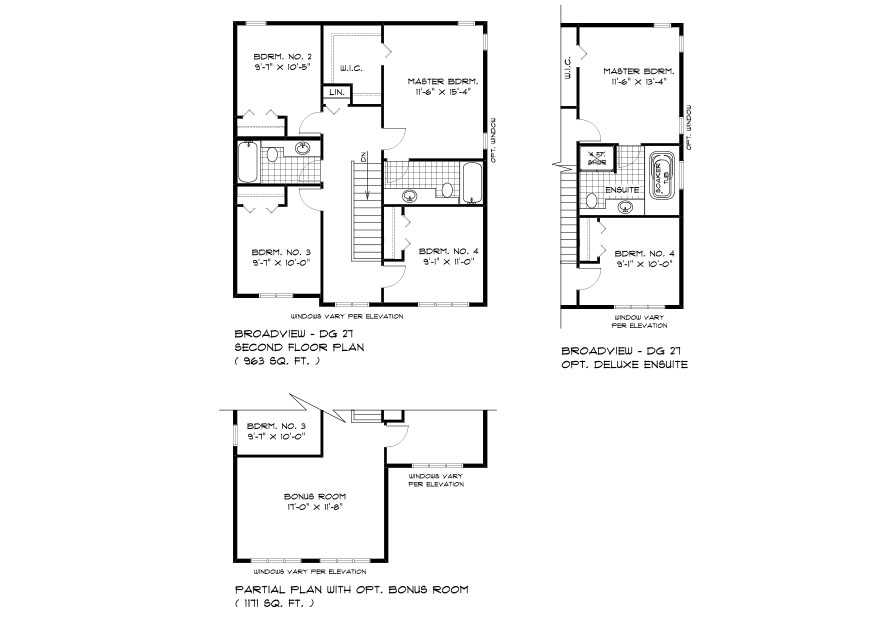 DG 27 The Ellington 2-Storey home second floor plan with 3 bedrooms, 2.5 bathrooms and optional deluxe ensuite or optional bonus room broadview homes