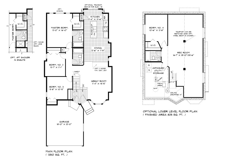 DG 32 The Elyse Floor Plan Bungalow Style Home with 3 Bedrooms and 2 Bathrooms, attached garage, great room, dining room and kitchen