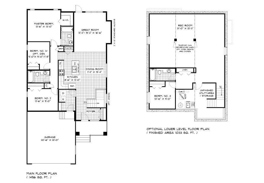 Dg 33 The Heritage Bungalow Main floor plan with 3 bedrooms, 2 bathrooms, great room, kitchen and dining room with front attached garage and lower level plan with 4th bedroom, full bathroom and rec room broadview homes