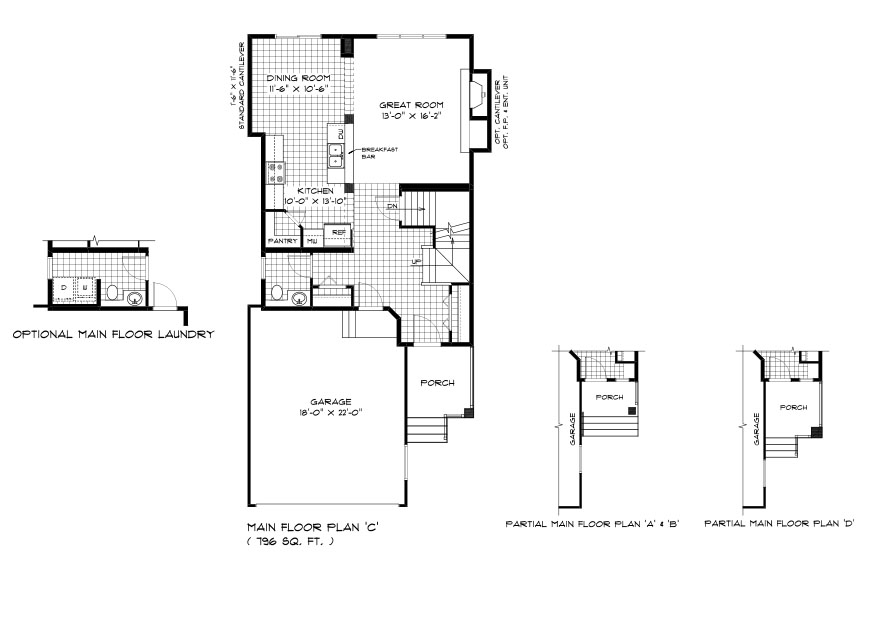 DG 37 The Hawthorne 2-storey home main floor plan with great room, dining room, kitchen, powder room and front attached garage and front porch elevation options broadview homes