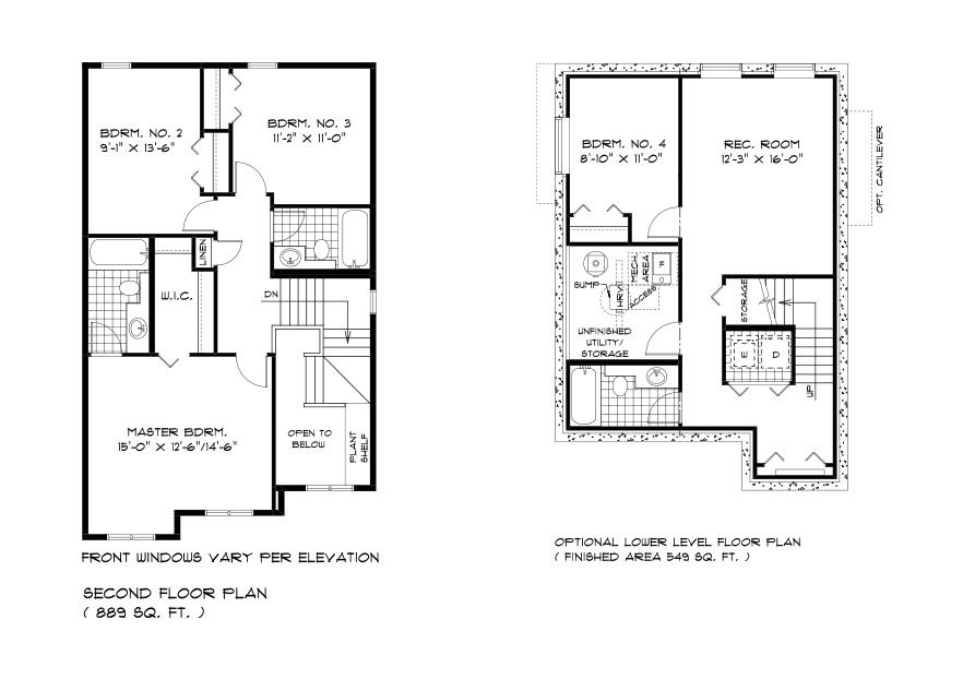 DG 37 The Hawthorne 2-storey home second floor plan with 3 Bedrooms and 2 bathrooms and lower level plan with 4th bedroom, rec room, full bathroom and utility area broadview homes