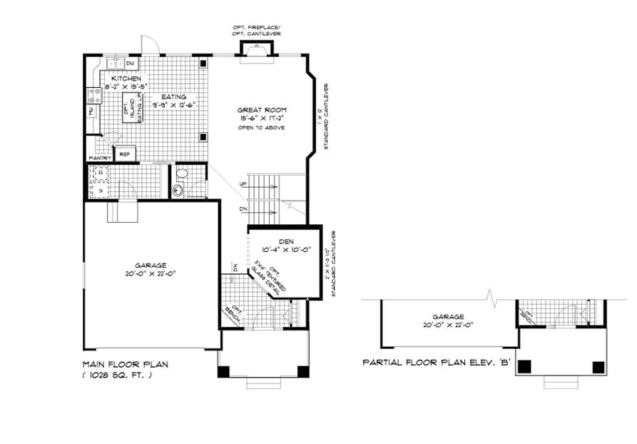 Dg 40 The Sequoia 2-storey home main floor plan with great room, eating area, kitchen, den, main floor laundry, powder room and front attached garage broadview homes
