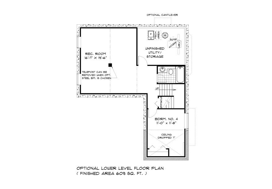Dg 40 The Sequoia 2-storey home lower level plan with 4th bedroom, full bathroom, rec room and utility area broadview homes