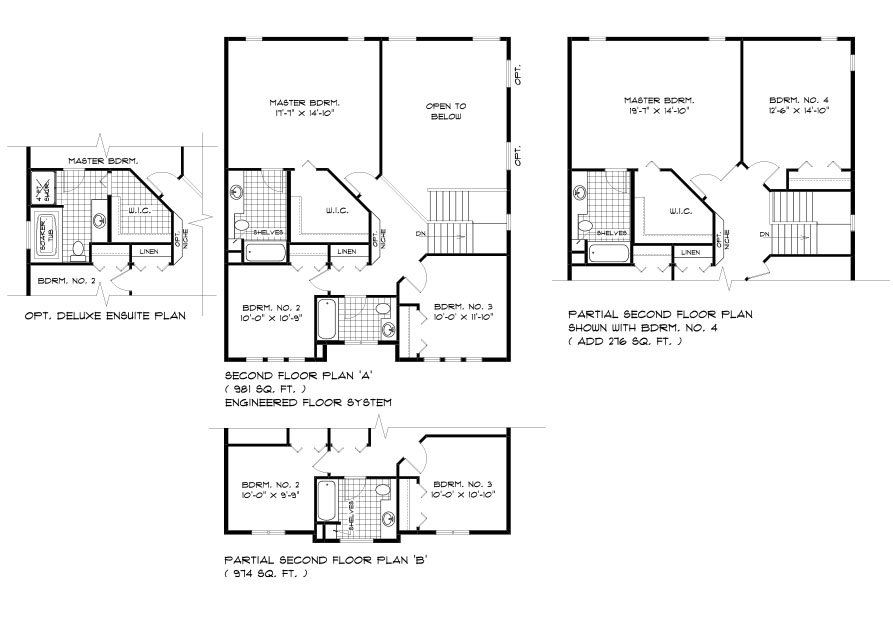 DG 40 The Sequoia 2-storey home second floor plan with 3 bedrooms, 2 bathrooms and open to below, optional 4 bedroom layout and optional deluxe ensuite broadview homes