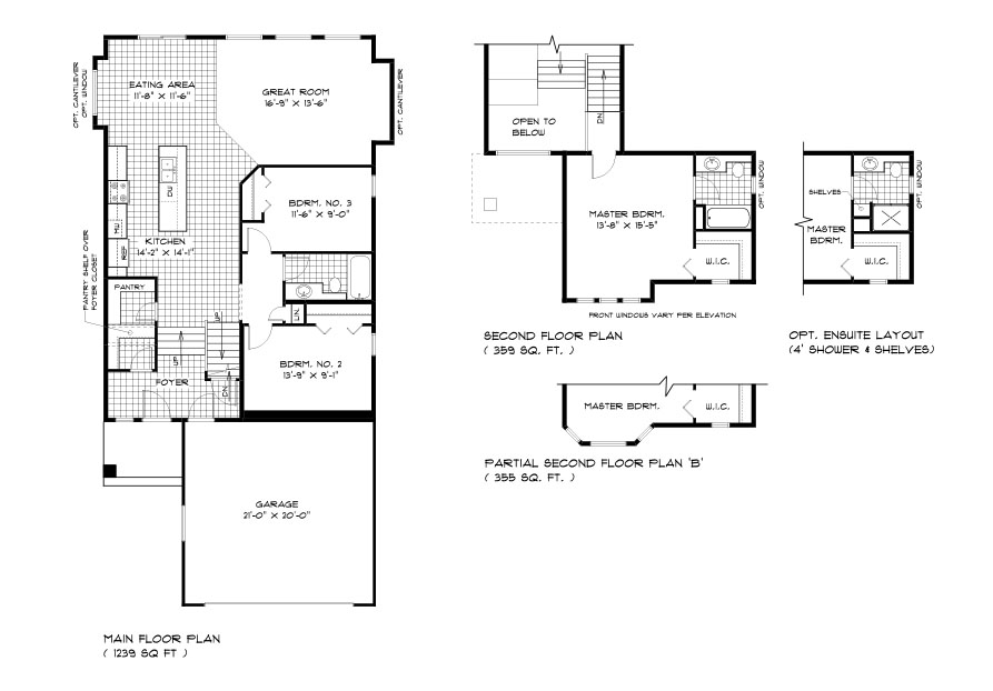DG 43 The highview cabover style home main floor plan with 2 bedrooms, 1 bathroom, great room, eating area, kitchen and front attached garage and second floor master bedroom and ensuite broadview homes