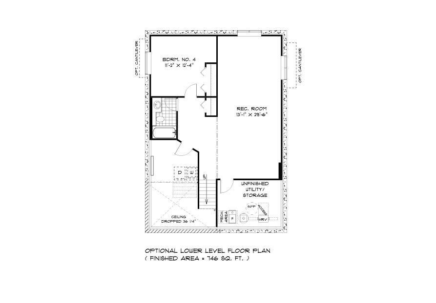 DG 42 The Highview Cabover style home lower level plan with 4th bedroom, rec room, full bathroom and utility area broadview homes