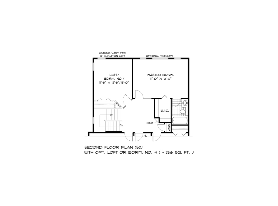 DG 44 Second Floor Plan S2 Opt Loft or 4th Bedroom