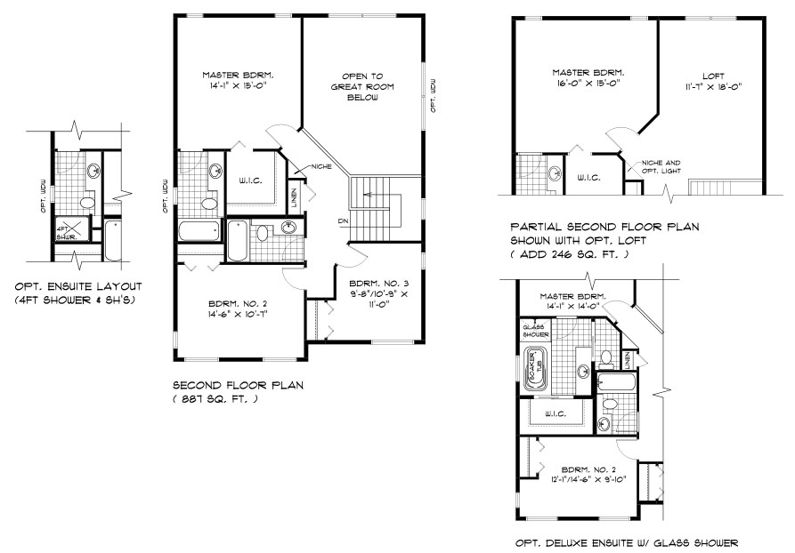 DG 46 The Highcrest 2-storey home second floor plan with 3 bedrooms, 2 bathrooms, and open to below, optional second floor plan with loft or optional deluxe ensuite broadview homes